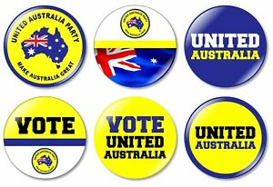 6 x United Australia 32mm BUTTON PIN BADGES Australian Federal Election Vote