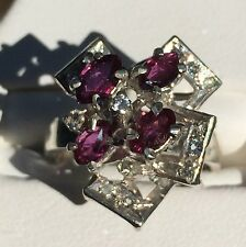 Sterling Silver Art Deco Ruby And Diamond Engagement Ring #1378