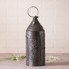 Primitive/Colonial Sturbridge 17 inch Candle Lantern  Black Punched Tin