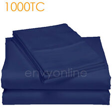 LUXURY RANGE 1000TC EGYPTIAN COTTON QUILT DOONA DUVET COVER SET-Blue Navy King