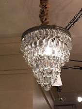 "Pottery Barn Clarissa Glass Drop Small 13"" Round Crystal Chandelier"