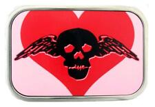 Belt Buckle Skull Wings Heart Pink Buckledown Silver Stainless Steel Punk Rock