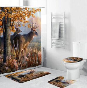 White-lipped Deer Shower Curtain Bathroom Rug Thick Bath Mat Toilet Lid Cover