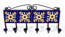 Iron & Ceramic Tile 6 Hook Hanger For Cloth Hanging Key Hanger LHR - 002