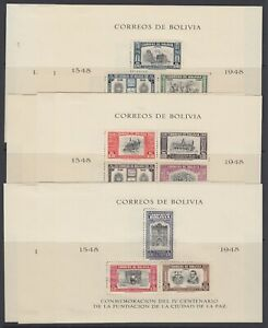 Bolivia, 1951 Complete La Paz Sheets - Perforated & Imperf, MHR