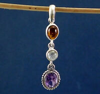 Solid 925 Sterling Silver Amethyst Sunston Gemstone Handmade Daily Wear Pendant