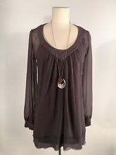 Women's Bohemian Sheer Long Sleeve Pleated Top With Overlay Tank Size S