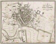 MAP ANTIQUE 1823 BENN BELFAST CITY PLAN NORTHERN IRELAND ART PRINT POSTER LF1736