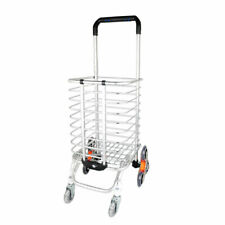 Folding Shopping Cart Portable Stair Climbing Utility Cart with Swivel Wheel