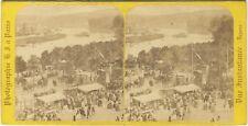 Fête Saint-Cloud Sèvres Instantané H. Jouvin Stereo Vintage Albumine ca 1860