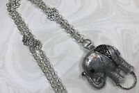 Silver & Black Elephant  Lanyard, Silver Chain Badge ID Holder, Breakaway Option