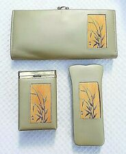 Vintage Buxton Leather With Embossed Bamboo Asian Inspired Ladies 3pc Wallet Set