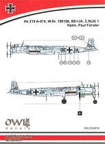 Owl Decals 1/48 HEINKEL He-219A-074 Hptm Paul Forster 3./NJG.1