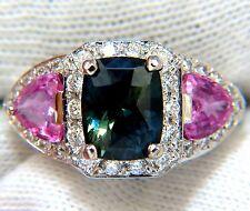 $14000 GIA 6.19ct NATURAL NO HEAT GREEN BLUE SAPPHIRE DIAMONDS RING UNHEATED
