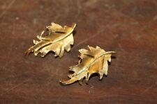 Vintage Signed B.S.K. B. Steinberg Kaslo Gold Tone Clip On Oak Leaf Earrings