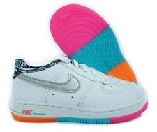 NIKE AIR FORCE 1 TD LOW TRAINERS WHITE SILVER TEAL PINK SIZE UK 4.5 Kids EU 21