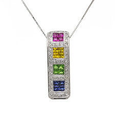 18k White Gold Diamond Gemstone Bar Pendant Necklace 16 Inch Chain