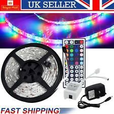 RGB Strip LED Light 5M 5050 Power Supply Adapter 44Key IR Remote Waterproof Kit