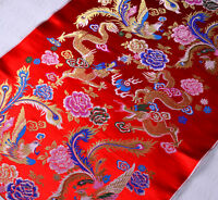 1/2 YD CHINESE RETRO DAMASK JACQUARD BROCADE FABRIC: CLASSIC DRAGON & PHOENIX -