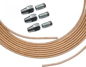 6MM OD x 2.5MTR EASY FLARE COPPER FUEL PIPE + 3 EA 7/16 x 20 MALE/FEMALE NUTS