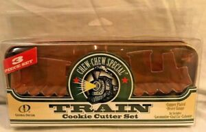 3 pc CHEW CHEW Train Cookie Cutters Copper Plated -Global Decor - With Tin NIP