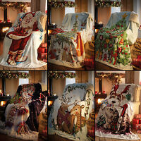 Father Christmas Xmas Tree Snowman Stag Super Soft Bed Sofa Fleece Blanket Throw