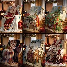 Father Christmas Xmas Tree Snowman Stag Super Soft Bed Sofa Fleece Blanket Throw