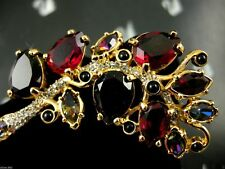 Signed Swarovski Crystal Branch Leaf Pin~Brooch 22Kt Gold Plating Nwt Rare