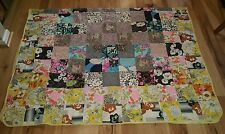 Vtg. handmade QUILT COVERLET floral fabric GORGEOUS rare 66x98 Twin patchwork