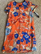 Danillo Boutique Orange Floral Short Sleeve Dress Size 6 Nwt