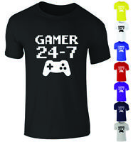 Kids Girls Boys Gaming Gamer 24-7 Passionate Funny Cool Gift T-Shirt Top 3-15yrs