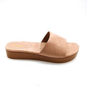 Bamboo Womans Gigi-02 Platform Slide Sandal Dark Blush Sz 11 M NEW