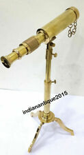Nautical Brass Marine Telescope With Wooden Tripod Stand Collectible Desk Decor