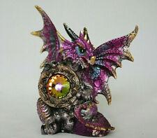 roter Drachen  Fantasy Figur, mit Kristall, 14 cm hoch
