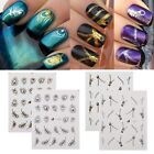 Nail Art Metallic Stickers Peacock Feather Zip Silver/Gold Decals Water Transfer