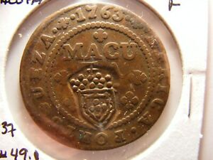 Angola 1763 1 Macuta, C/S in 1837, KM#49.1 to make KM#10, Fine for issue