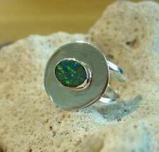 Opal Ring Silber 925 Größe flexibel Designerring Doppelband Spirale neu wow R19