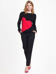 Damen Pullover Tunika Pulli  Langarm Schwarz Rot Wolle Kaschmir Gr. 40 42 44