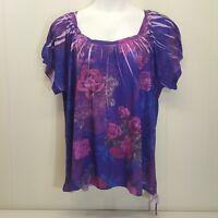 Fashion Bug 2X Shirt Top Blouse Purple Pink Roses Floral Sublimation Plus Size