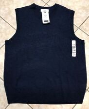 Turnbury Extra Fine Merino Wool V-Neck Sweater Vest Navy Blue Heather L NWT