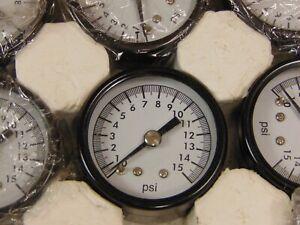 "(1) 1/8"" NPT AIR PRESSURE GAUGE 0-15 PSI BACK MT 1.5"" FACE"