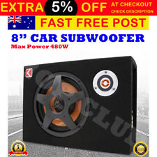 "8"" Car Subwoofer Under-Seat Sub Woofer 480 Watt Speaker Stereo Slim Amplifier 4Ω"
