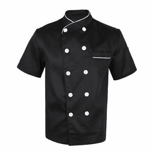 Chef Coat Jacket Unisex Kitchen Short Sleeve Cooker Work Restaurant Uniform
