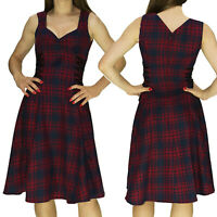 RED TARTAN DESIGNER SWING DRESS by Dr FAUST with RIBBON LATTICE ALTERNATIVE Midi
