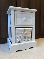 White Bedside Cabinet Table Wicker Basket Nightstand Bedroom Shabby Chic