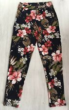 Edge Ladies Blue Red White Green Floral Trousers Size 8 Womens