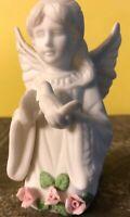 """Vintage Lefton Bisque Porcelain Angel With Dove Bird Japan 07975 Pink Roses 4.5"""""""