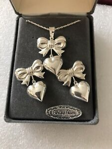 Sterling Silver Ribboned Bow / Puff Heart - Pendant and Earrings - NEW IN BOX