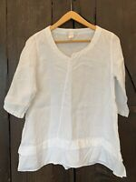 Elemente Clemente LINEN Blouse SHIRT White Dress 1 10 3/4 Sleeve Longer Tunic