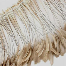 15 Pcs.Sand Beige Stripped Coque Rooster Feathers - US Seller